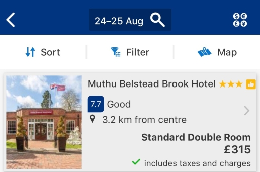 Screenshot of Muthu Belstead Brook Hotel for Saturday, August 24, 2019 until Sunday, August 25 - the night of Ed's second gig