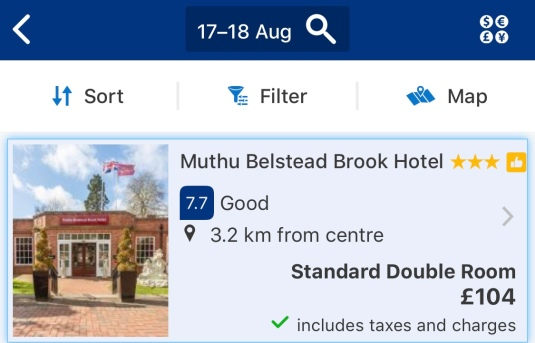 Screenshot of Muthu Belstead Brook Hotel for Saturday, August 17, 2019 until Sunday, August 18 - the weekend before Ed's concerts