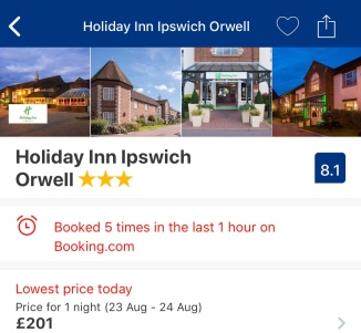 Screenshot of Holiday Inn Ipswich for Saturday, August 23, Friday 2019 until Saturday, August 24 - the night of Ed's first gig