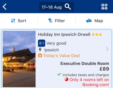 Screenshot of Holiday Inn Ipswich for Saturday, August 17, 2019 until Sunday, August 18 - the weekend before Ed's concerts